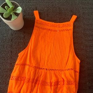 Free People Orange Constant Crush Top